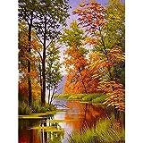 PPOI Herbst Landschaft Malen Nach Zahlen Landschaft DIY Ölgemälde Nach Zahlen Auf Leinwand Rahmen Digitale Handmalerei W9 30x40cm