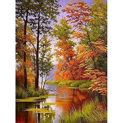 Pintura de paisaje de otoño por números paisaje DIY pintura al óleo por números sobre lienzo marco pintura digital a mano W9 50x65cm