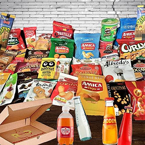 Mistery Box AperolBox Italian Party Confezione Assortita 30 Pezzi Tanti Snack Salati Di Marca e Aperitivi da Bere Idee Regalo Compleanni