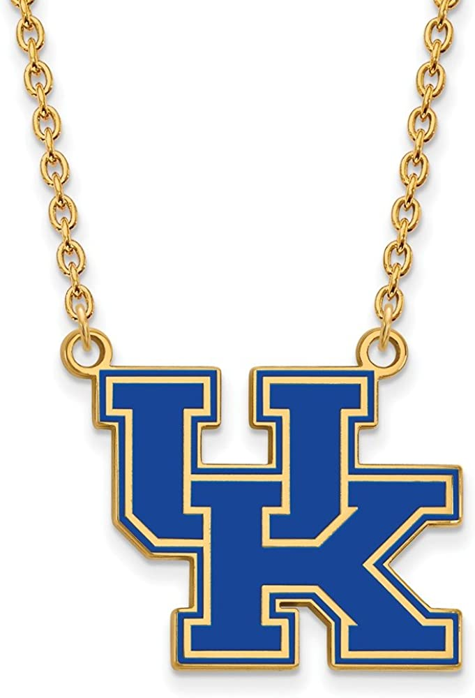 925 Sterling Silver Yellow Gold-Plated Official U of Kentucky Large Enamel Pendant Necklace Charm Chain Width = 23mm
