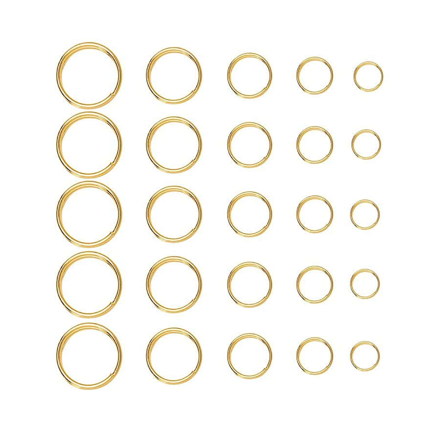 Tiparts 500Pcs Double Loops Jump Rings Connectors Mix 5 Size Stainless Steel Open Key Chains for Charm Jewelry Findings