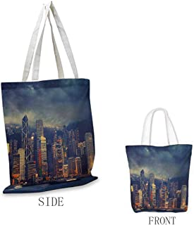 Cityscape Pattern shopping bag Hong Kong Cityscape Stormy Weather Dark Cloudy Sky Waterfront Port Dramatic View Great for shopping W15.75 x L17.71 Inch Multicolor