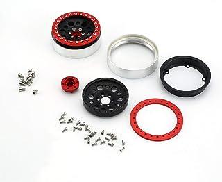 LoveOlvido 2Pcs 2.2inch Llanta de aleación de Aluminio Llanta Cubos de Rueda Beadlock para 1/10 RC Crawler Car TRX4 Defender Bronco RC4WD D90 - Rojo