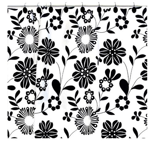Black and white flowery shower curtain