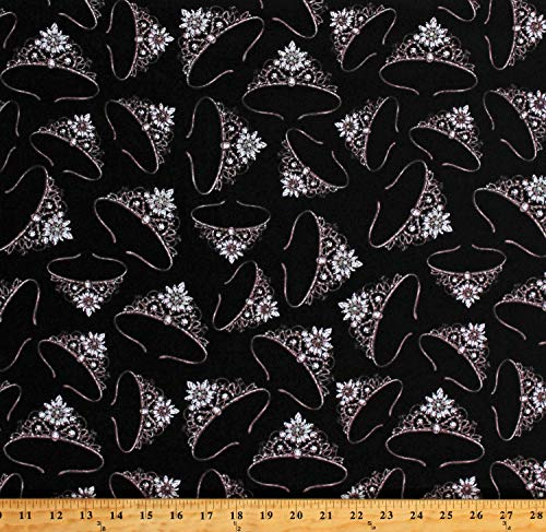 Cotton Tiaras Crowns Princess Royalty Jewels Silver Metallic Glitter Sparkles on Black Cotton Fabric Print by The Yard (D686.13)