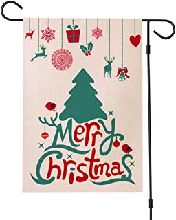 YINGXIANG Garden Flag Christmas Decorations 12 X 18 inches Double Sided Vintage Burlap Holiday Seasonal Christmas Tree Decorative House Outdoor Flags for Patio Home Outside Yard Flagpole