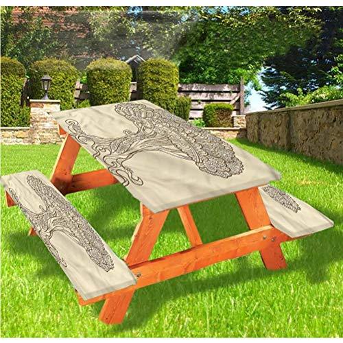 LEWIS FRANKLIN Shower curtain Tree of Life Deluxe - Juego de 3 fundas para mesa de picnic con borde elástico, adorno de henna Doodle, 28 x 72 pulgadas, juego de 3 piezas para mesa plegable