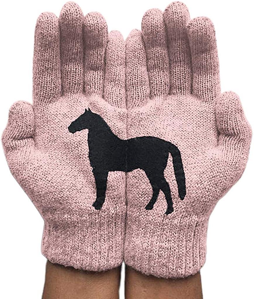 ZHENXI Funny Women Winter Warm Knitted Gloves - Irregular Patchwork Black Horse Mittens, Female Full Finger Gloves