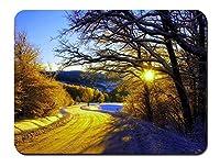 冬の朝、雪、木、道路、日の出 パターンカスタムの マウスパッド 旅行 風景 景色 (26cmx21cm)