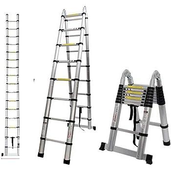 Escalera telescópica plegable multiuso de 2,6 m, 3,2 m, 3,8 m, 5 m, escalera de extensión de aluminio, marco en A, escalera recta, EN131 (marco A, 5 m): Amazon.es: Hogar