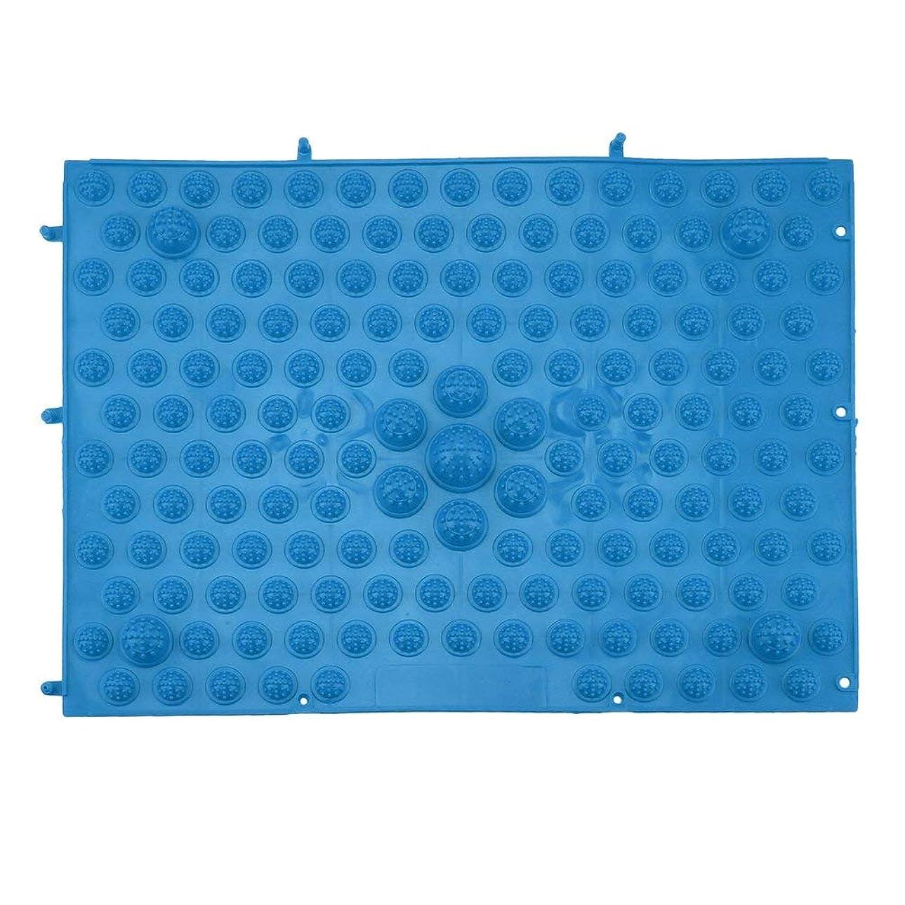 針剥離礼儀指圧フットマットランニングマンゲーム同型フットリフレクソロジーウォーキングマッサージマット用痛み緩和ストレス緩和37x27.5cm - 青