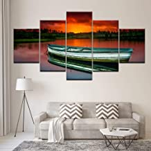 Frameless 5 Paintings Canvas Painting Wooden Boat In River Sunset 5 Pieces Wall Art Painting Modular Wallpapers Poster Print Living Room Home Decor