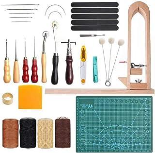 Kit de Gravure sur Cuir Ensemble De Pinces en Bois Ensemble D'outils en Cuir Outils De Couture en Cuir Bricolage Art Cousu...