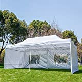 GOGODUCKS 10 x20 FT Outdoor Party Tent with Removable Sidewalls Easy Pop Up Canopy Gazebo with Portable Carrying Bag Adjustable Folding Blue Pavilion Wedding Patio Shelter