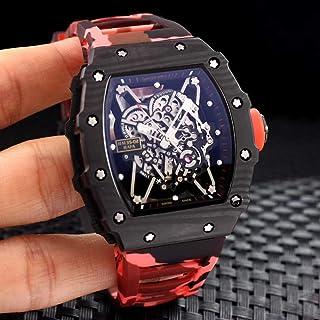 JFfactory - JFfactory Clásico Nuevo Hombre Azul Negro Camuflaje Reloj de Goma Zafiro automático mecánico Fibra de Carbono Calendario Reloj de Pulsera Esqueleto