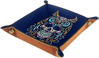 Boîte de rangement pliable en cuir PU pour bureau de couleur - Table de jeu carrée - Porte-monnaie - Porte-monnaie - Range...