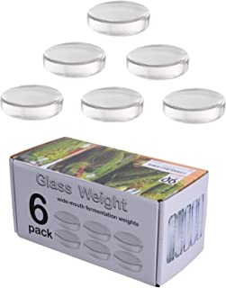 6 Pack - Large glass fermentation weights for wide mouth Mason jars. Preservation and Pickling. Dishwasher safe. Gift box ...