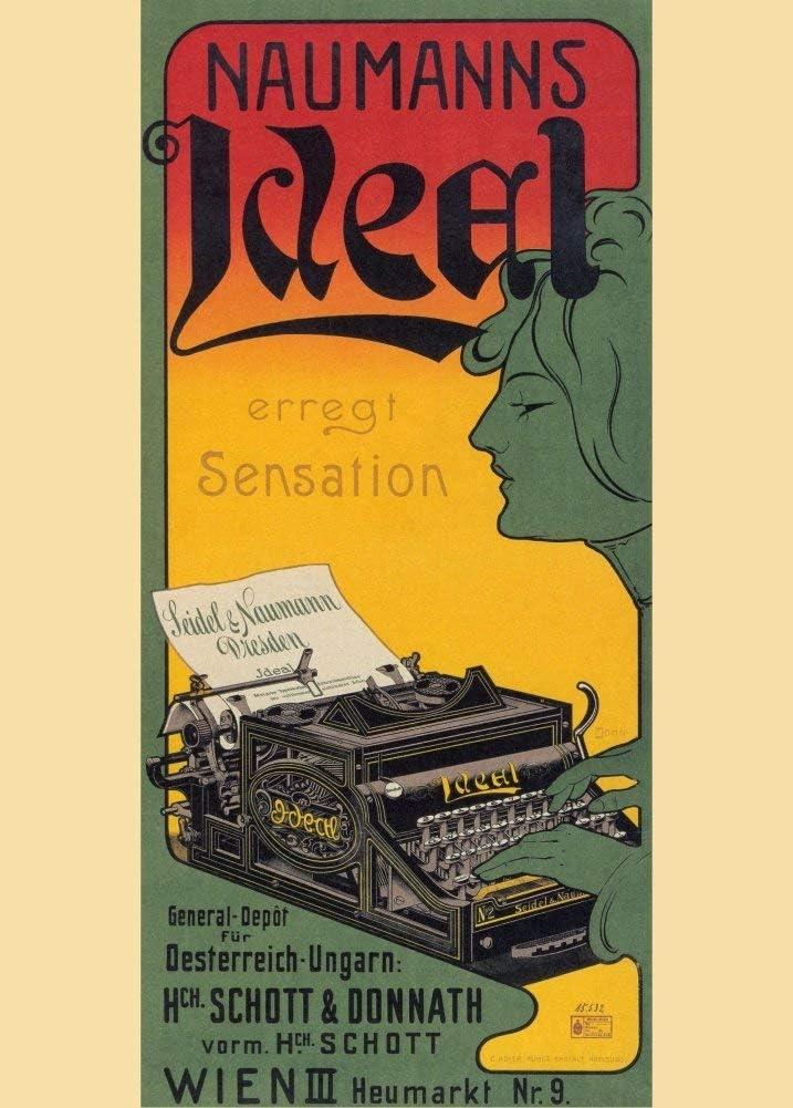 Vintage material escolar y impresión ideal de Naumann máquinas de escribir, Viena, Austria c1900250gsm brillante Art Tarjeta A3reproducción de póster