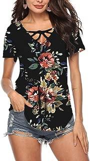 Womens Crisscross V Neck Top Short/Long Sleeve Casual T Shirts