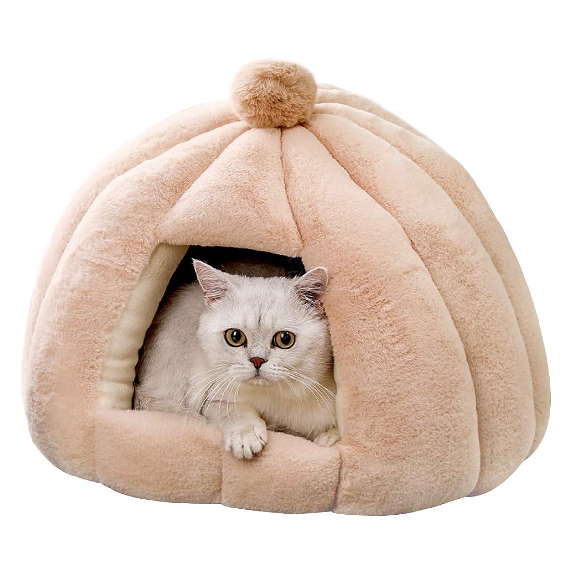 読む手順約束するbingopaw 猫ベッド ドーム型 洗える 小型犬 寝床 かわいい 丸型 ペットベッド テントハウス 小屋 ふわふわ 通年 耐噛み もこもこ 暖かい 滑り止め 防寒 7.5kg以下 ベージュ