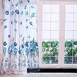 100 x 200 cm colorido tulipanes impresión cortinas de tul para balcón, sala de estar, dormitorio, cocina, decoración (azul)