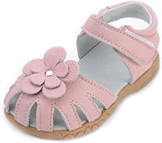 Girls Genuine Leather Soft Closed Toe Princess Flat Shoes Summer Sandals(Toddler/Little Kid)