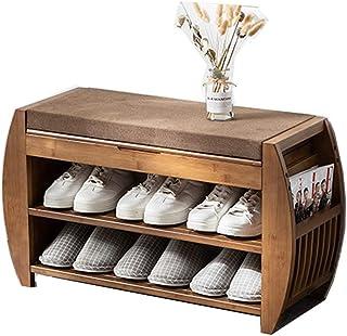 Tabouret à Langer Coussin détachable de l'organisateur de Rangement de Banc de Chaussures avec Rack de Chaussure de Bambou...