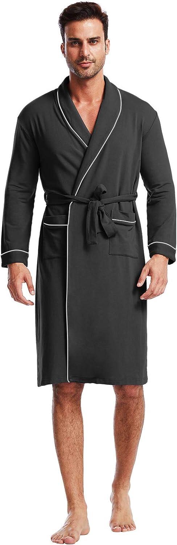 Ham&Sam Men's Robe Knit Bamboo Cotton Long Bathrobe Spa Sleepwear Soft Shawl Collar Kimono Robe Big and Tall