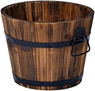 F&U Rustic Wood Whiskey Barrel Planter Box Round Small Wooden Garden Flower Pot