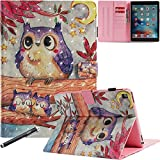 iPad Pro 9.7 Inch Case, Newshine Stand Folio Smart Cover with Auto Wake/Sleep Card Slots for Apple iPad Pro 9.7 (2016 Release, Model: A1673 A1674 A1675) - Purple Owls