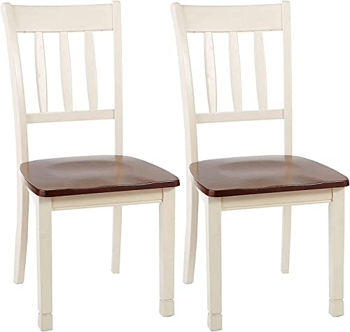 Signature Design by Ashley Whitesburg Cottage Rake Back Dining Chair, 2 Count, Brown & White