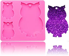 Cute Animal Bird Owl Family Keychain Pendant Silicone Mold with Hole for DIY Candy Soap Mould Crystal Desserts Cupcake Cake Topper Decor Pudding Jelly Shots Fondant Mold Handmade Ice Cream Chocolate