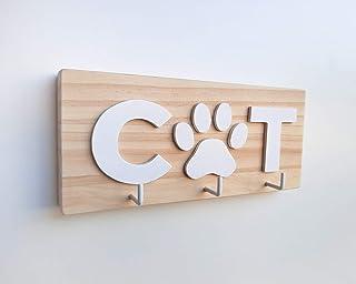 Porta llaves de madera para amantes de los gatos con la palabra CAT en blanco