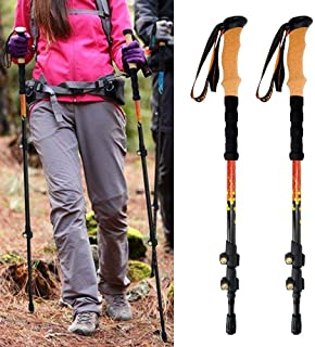 Trekking Poles Carbon Fiber,Hamkaw Walking Sticks, Adjustable,Lightweight, Shock,Telescopic Hiking Poles with Cork Grip, Padded Strap