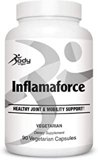 Body Vigor Inflamaforce, Anti-Inflammatory and Mobility Dietary Supplement with Turmeric 200 mg, Ginger and Boswellia, 90 Vegetarian Capsules