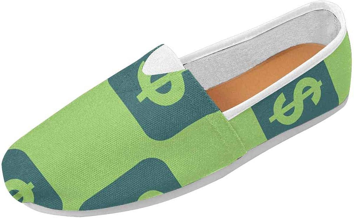 InterestPrint Two Color Dark Slate Gray Dollar Women's Natural Comfort Walking Flat Loafers