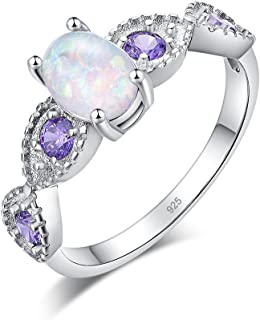 CiNily White Fire Opal Amethyst Women Jewelry Gemstone Rhodium Plated Ring Size 5-12