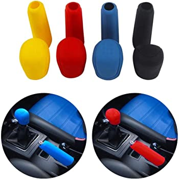 uxcell 3 in 1 Black Car Faux Leather Gear Knob Hand Brake Rearview Mirror Cover Set