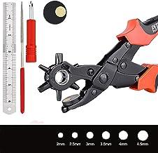 Alicate Sacabocados Biluer Perforador De Cuero Alicates De Agujero Perforadora Profesional Para Tela Cartón Cinturones Monederos Correas De Reloj Y Más 6 Tamaños 2.0-4,5 mm Rojo