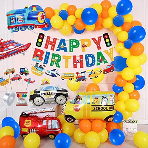 Decorazioni di Compleanno Party Veicoli Kit di Decorazioni per Feste di Compleanno Decorazioni di Palloncini di Ragazzo Compleanno Set di Striscioni di Buon Compleanno per Ragazzo per la Doccia