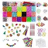 CGBOOM Bandas de Goma para Hacer Pulseras, Pulseras Gomas Niños, 22 Colores, DIY Cintas de Telar Kit de Pulseras con Bandas de Telar Pulsera Collar Herramienta de Tejer Juguetes de DIY