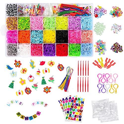 CGBOOM 6800 Bandas de Goma para Hacer Pulseras, Pulseras Gomas Niños, 22 Colores, DIY Cintas de Telar Kit de Pulseras con Bandas de Telar Pulsera Collar Herramienta de Tejer Juguetes de DIY