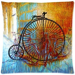heigudan Vintage Penny Farthing Bicycle Bike Two Sides Decorative Square Zippered Throw Pillow Case Cushion Cover 18x18 inch