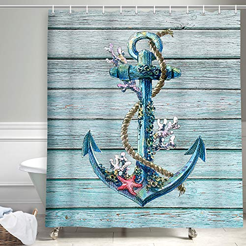 Anchor Shower Curtain, Rustic Wood Plank Nautical Theme Marine Ornament Shower Curtains Cloth Fabric Bathroom Decor Set with Hooks, 69x70 Blue