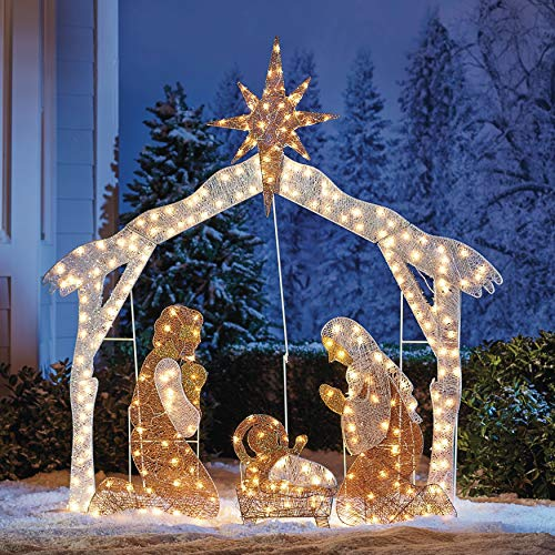 BrylaneHome Crystal Splendor Outdoor Scenes, Christmas