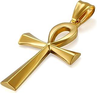 JewelryWe Collana Croce Pendente da Uomo Donna Crocifisso Egiziano Ankh Catena in Acciaio Inox Croce Collana d'oro Argenteo
