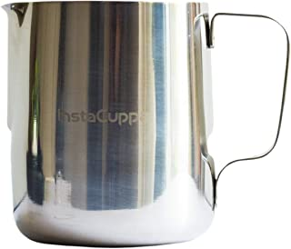InstaCuppa Milk Frothing Pitcher Jug - 600 ml, Measurement Markings, Mirror Polished Stainless Steel Pot, Easy to Pour V-S...
