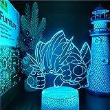 Lámpara de ilusión 3D, luz de noche LED, lámpara de Anime Mega Swampert, lámpara Visual Night Sky Go para niño, niña, regalo, cumpleaños, Navidad