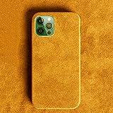 Funda de teléfono de Gamuza de Color sólido de Terciopelo Corto para iPhone 12Mini Pro MAX 7 8 Plus XR XS 11Pro MAX Funda Trasera Suave de Silicona, Amarillo Caqui, para iphone11