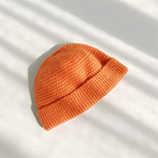 ZiWen Lu Couple Autumn and Winter Days Warm Wool hat Female Short Paragraph Buckle Male Landlord hat Knitted hat Korean Melons Cold Cap Tide (Color : Orange, Size : Adjustable)